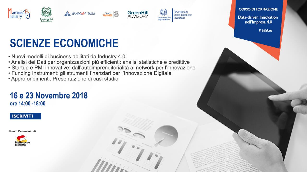 Corso Data Driven Innovation nell'Impresa 4.0